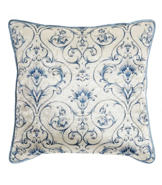 Blue Cushion Velvet Floral