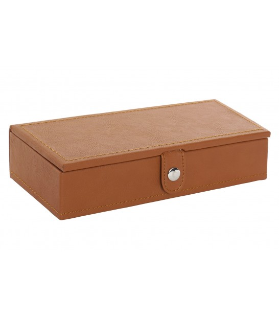 Jewelry Box Organizer Fake Leather Brown