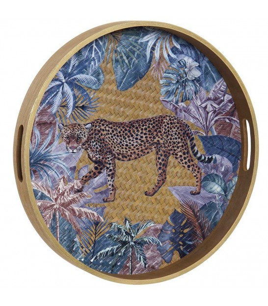 Multicolor Tray Round Jungle - 40x4.5cm