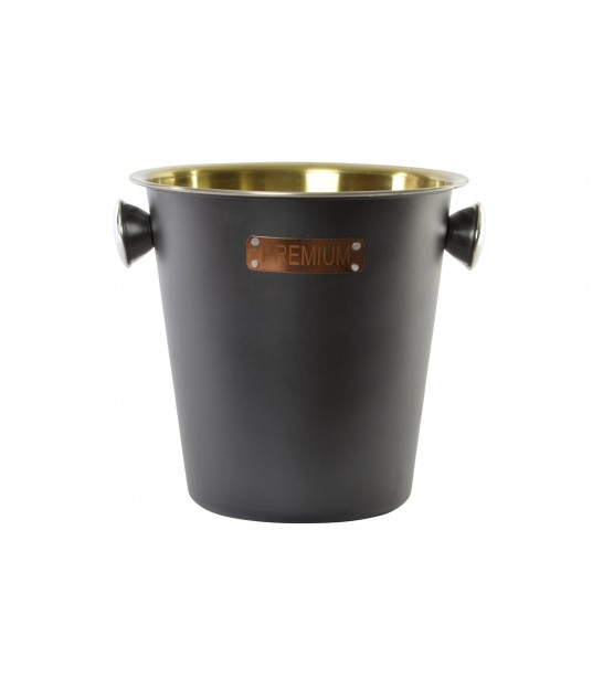 Ice Bucket with Handles Black and Gold