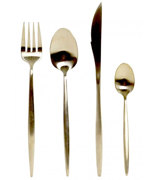 Silver and Wood ABS Table Cutlery - 16 Pieces