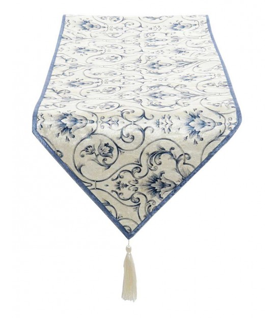 Chemin de Table Velours Floral Bleu