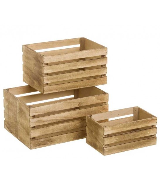 Set de 3 Caisses en Bois Style Caisses à Fruits