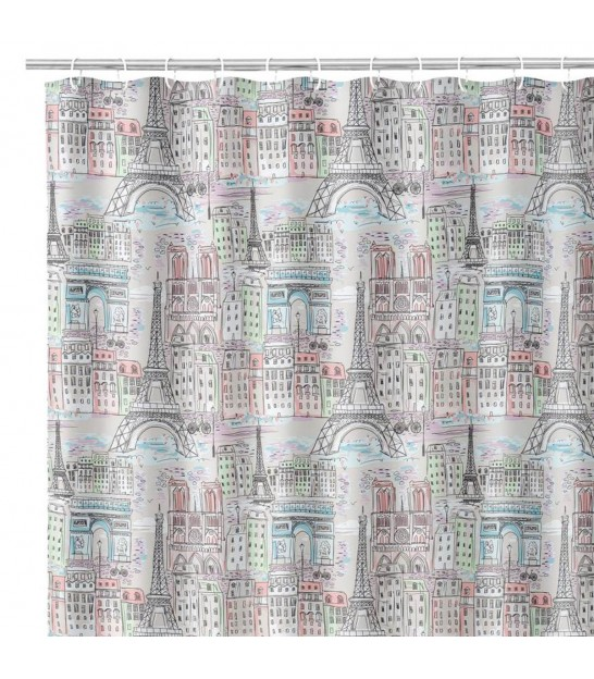 Shower Curtain Polyester White and Grey Origami 180x200cm