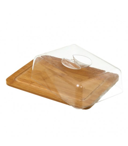 Rectangular Bamboo Cheese Tray and Acrylic Bell