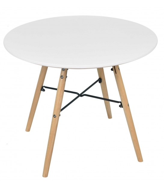 Child Round Table White and Wood