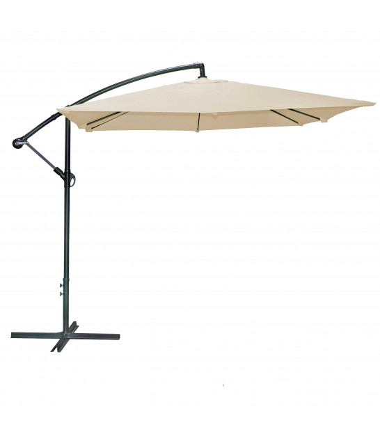 Grey Umbrella with crank and tilt functions Aluminium