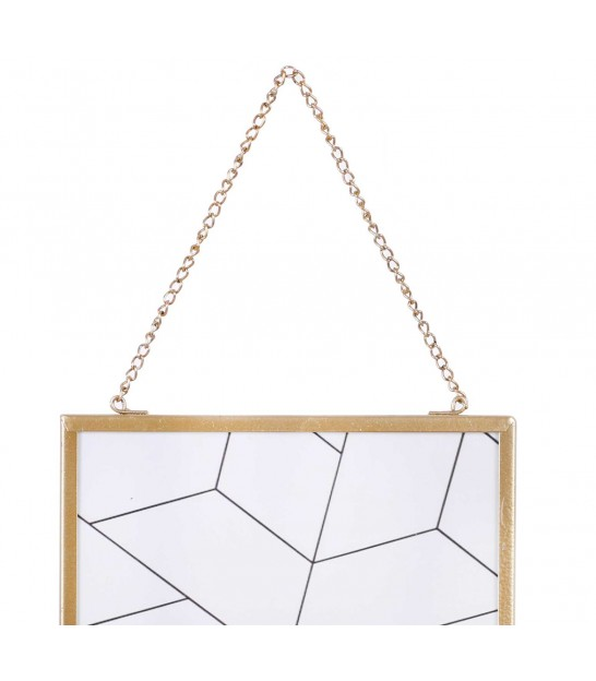 Wall glass and Gold Metal frame with chain