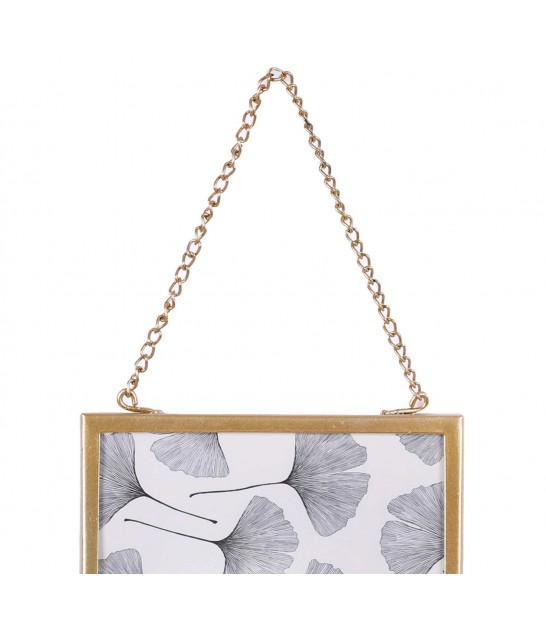 Wall glass and Gold Metal frame with chain -24X18cm