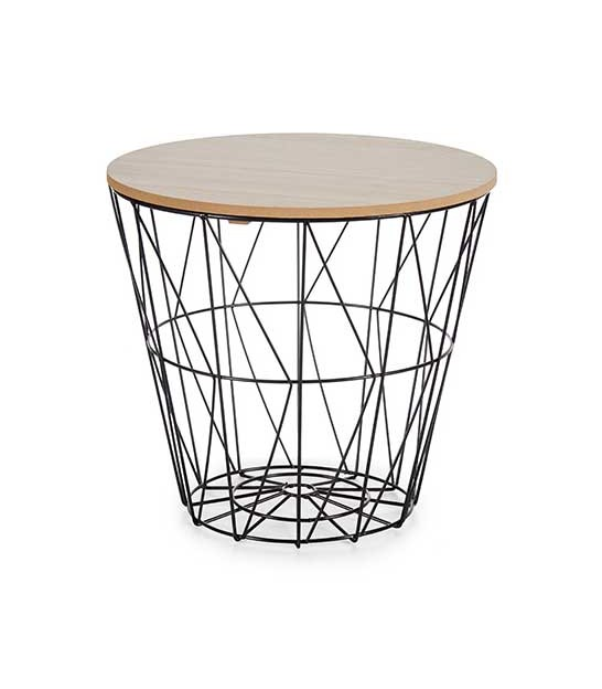 Wood and Metal Side Table - H60cm