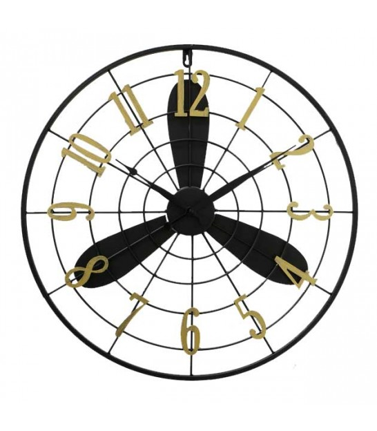Round Wall Clock Black and Gold Metal
