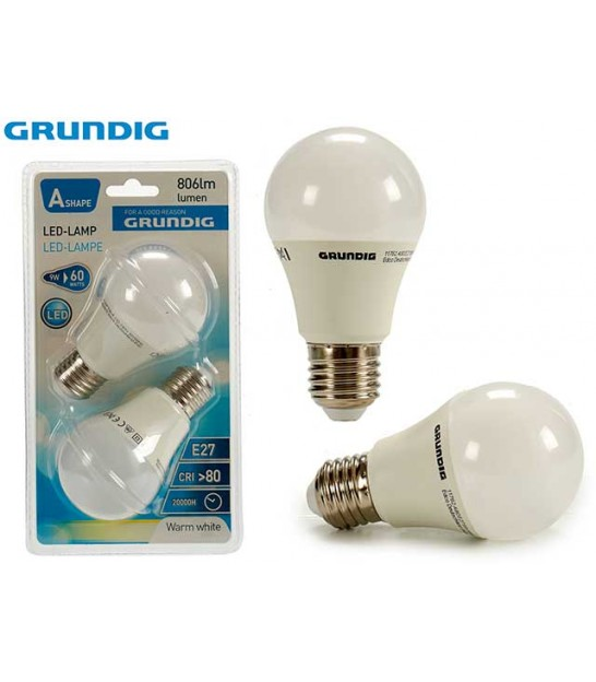 Set of 2 Bulbs LED E27 9W - Grundig