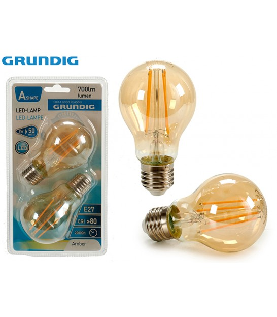 Set of 2 Bulbs LED / E27 / 8W / 700LM / 2300k - Grundig