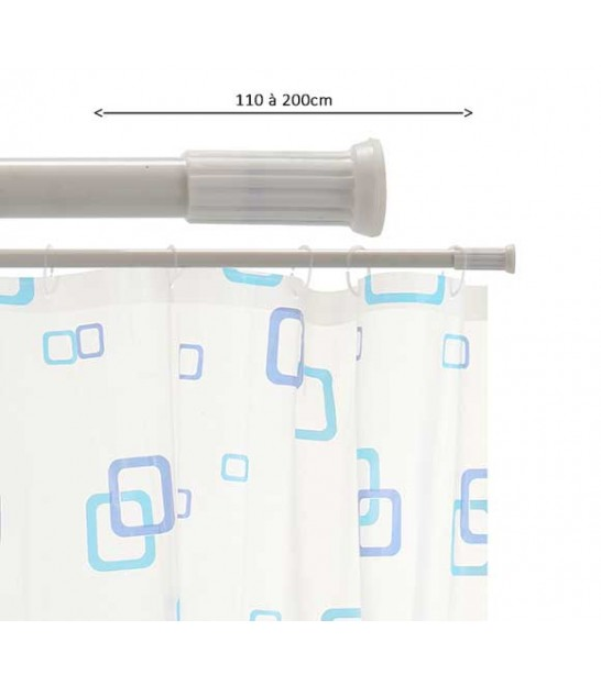 Adjustable Shower Curtain Rod White 140 to 260cm