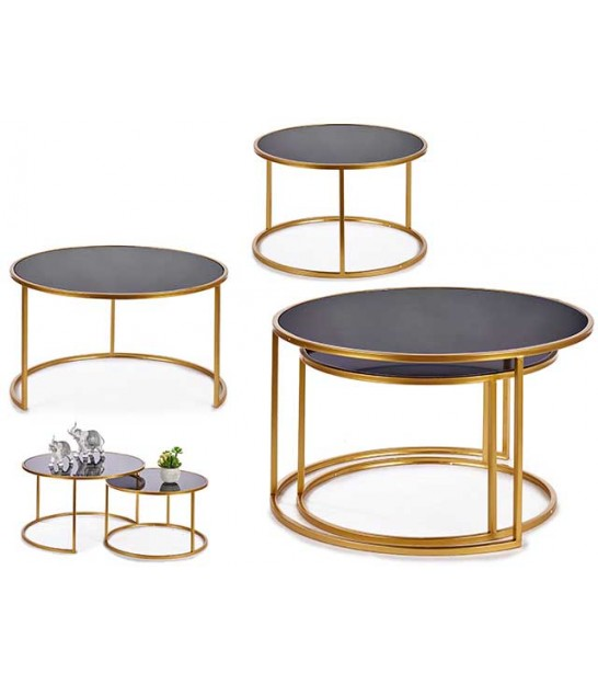 Set of 2 Wood and Metal Round Side Tables