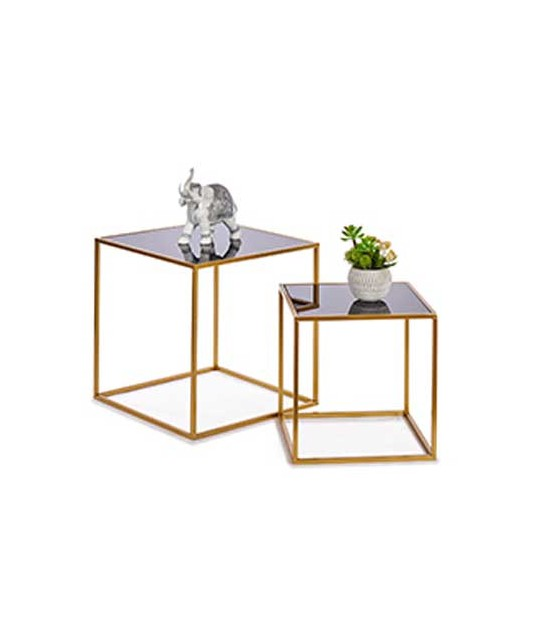 Set of 2 Round Side Tables Black and Gold