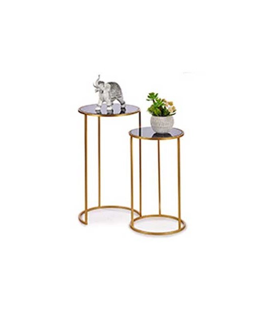Set of Two Square Pedestal TableS Black and Gold