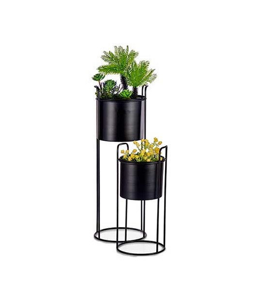 Set of 2 Black and Golden Metal Plants Pots on Stand
