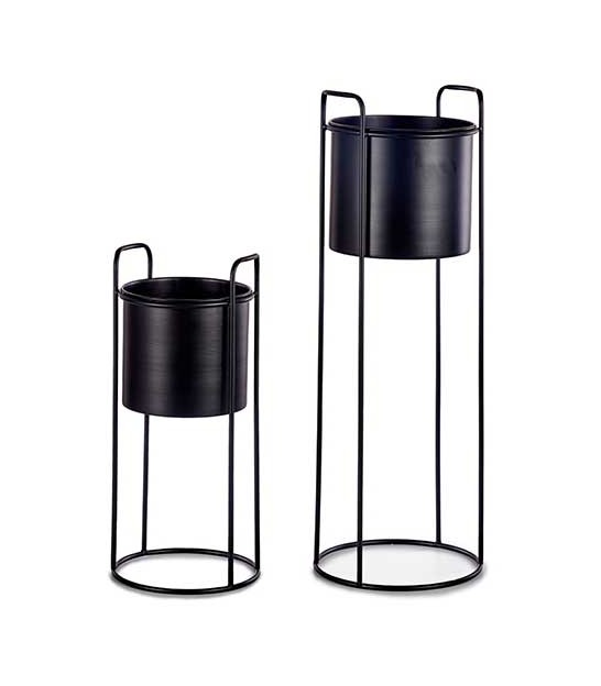 Set of 2 Round Black Metal Plants Pots on Stand