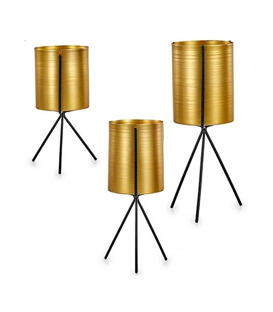 Set of 3 Round Golden and Black Metal Plants Pots on Stand