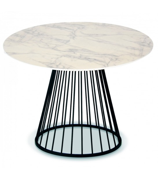 Round Black and Wood Dining Table - Diam. 100cm