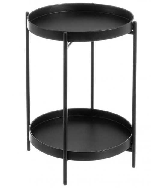 Round Coffee Table Black Metal