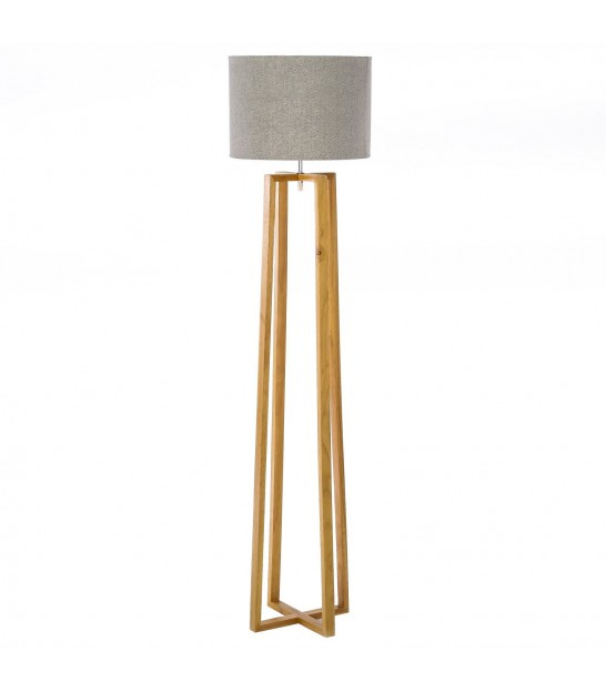 Floor Lamp Chrome Metal + Beige Lampshade