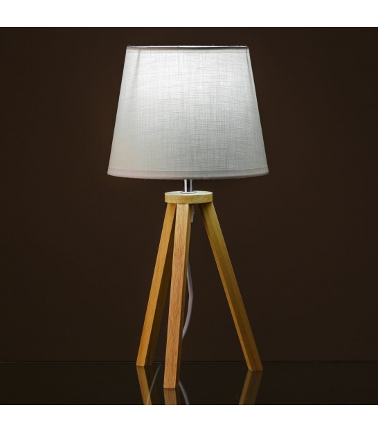 Table Lamp Wood and White Lampshade