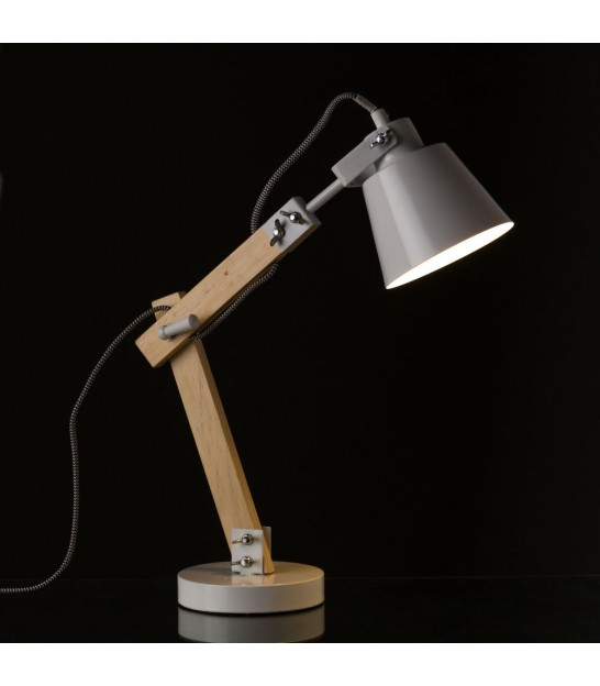 Desk Lamp Wood and White Metal - H48cm