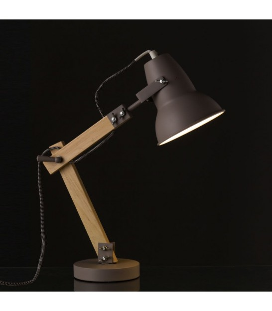 Desk Lamp Wood and White Metal - H43cm