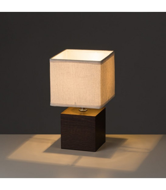 Table Lamp Wood and Beige Lampshade - Height 33cm