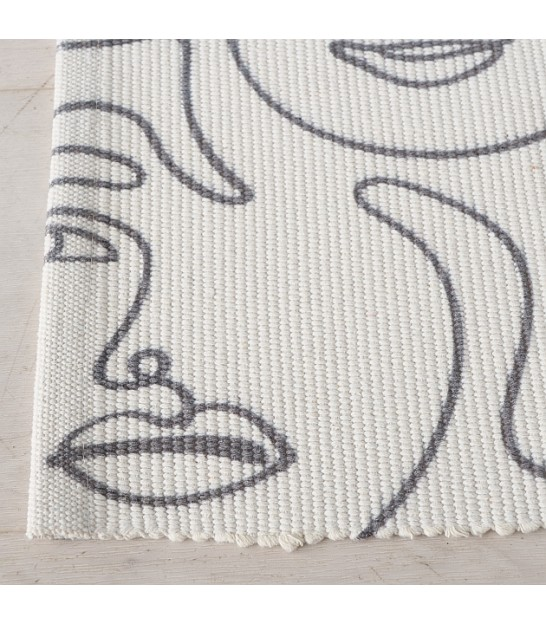 Rug 100% Cotton White and Black/Grey - 60*90cm