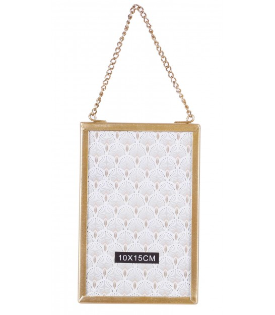 Wall glass and Gold Metal frame with chain -15x10cm