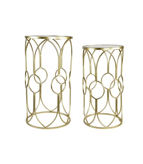 Set of 2 Gold Metal Consoles