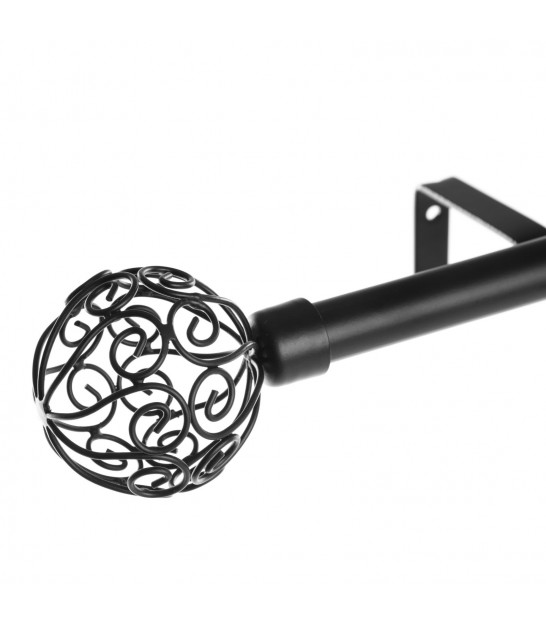 Curtain Rod Black Metal - 160 to 300cm