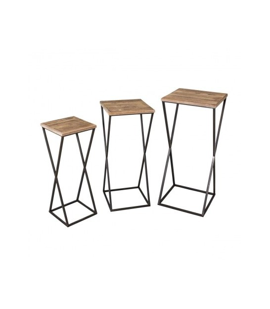 Set of 3 Consoles Black Metal and Wood