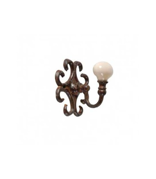 Wall Hook Brown Metal and White Ceramic