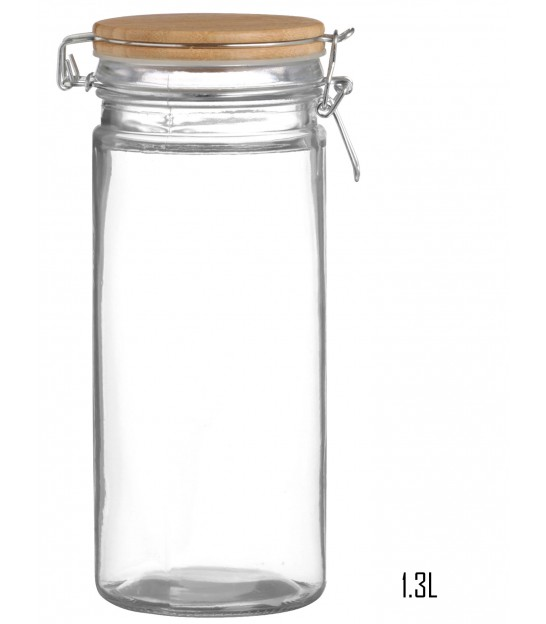 Kitchen Round Glass Jar Hermetic Bambou Lid - 2.1L