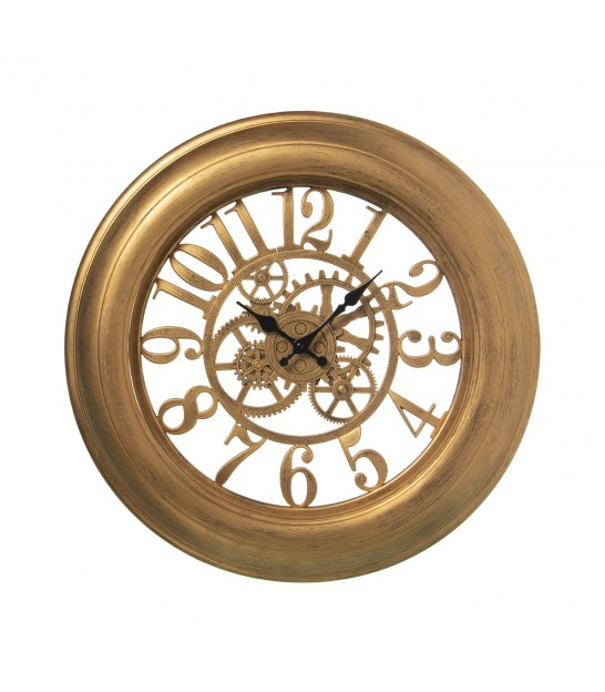 Wall Clock Gloden Resin with Mirrors