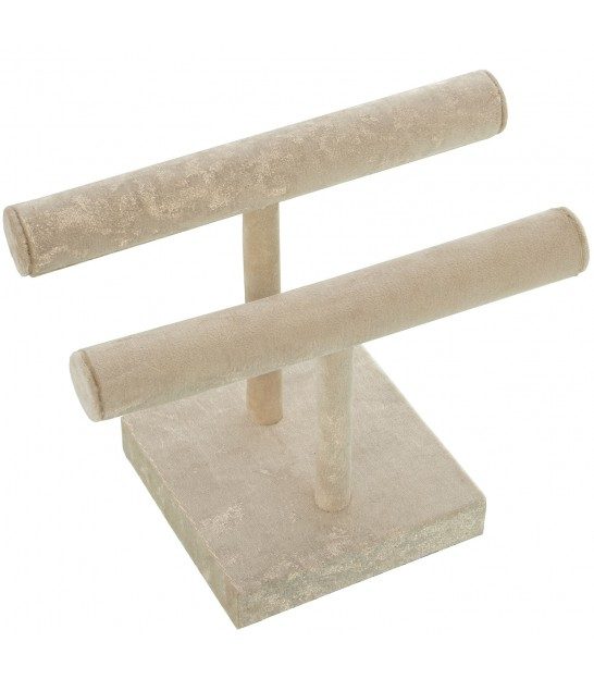 Double Jewelry Stand Beige Velvet