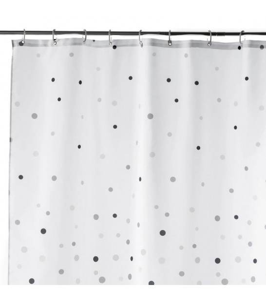 Shower Curtain Grey and White Polyester 180x200cm