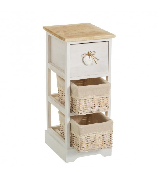 Nighstand Wood 1 Drawer + 2 Baskets