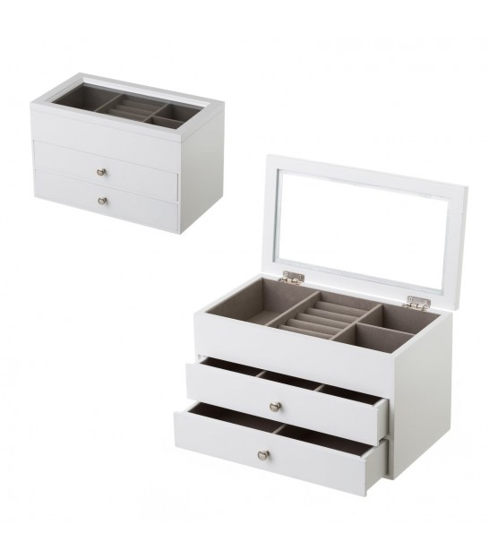 Jewelry Box White Wood MDF