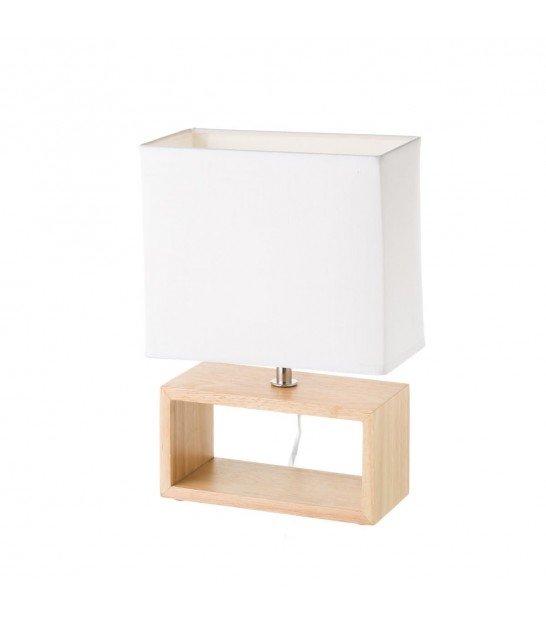 Table Lamp Wood and Beige Lampshade - Height 26.5cm