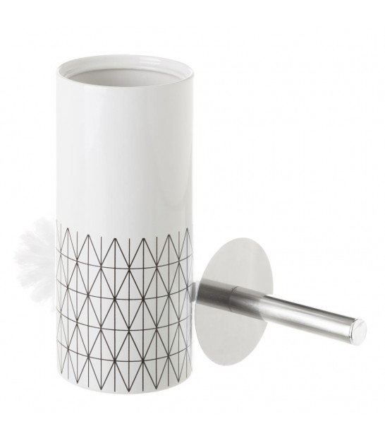 Toilet Brush Ceramic White and Blue Dots