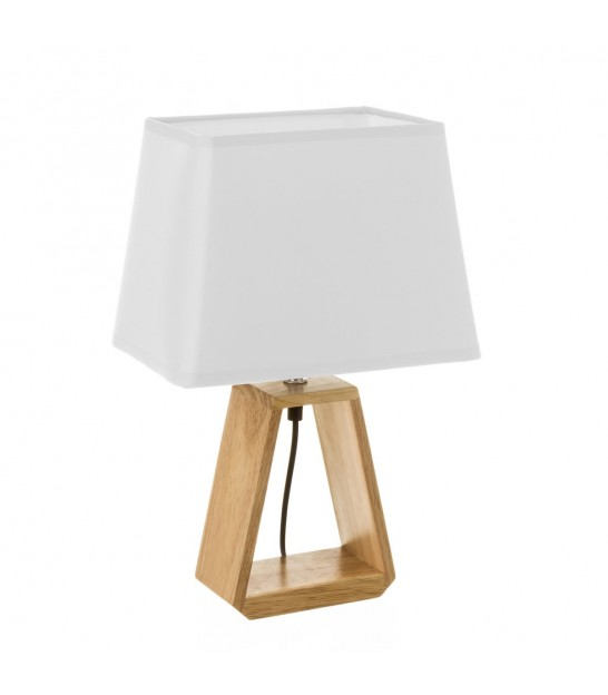 Table Lamp Wood and White Lampshade - Height 31.2cm