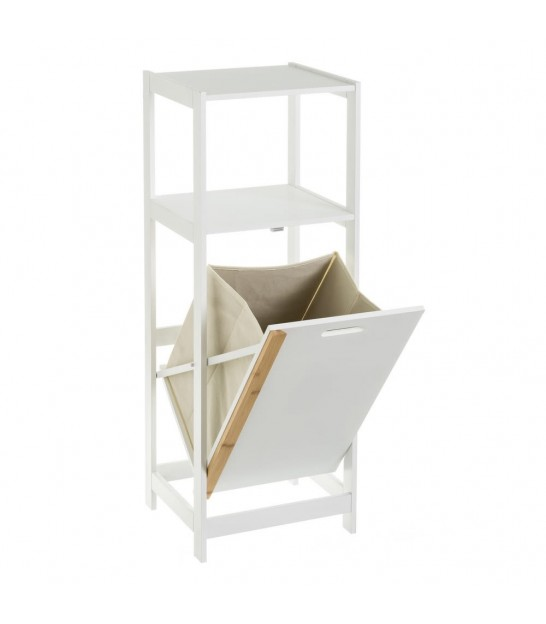 White and Bamboo Bathroom Shelf with Laundry Basket