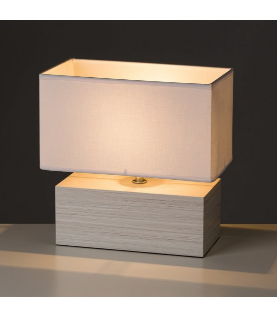 Rectangular Table Lamp Wood and Beige Lampshade - Height 28.5cm