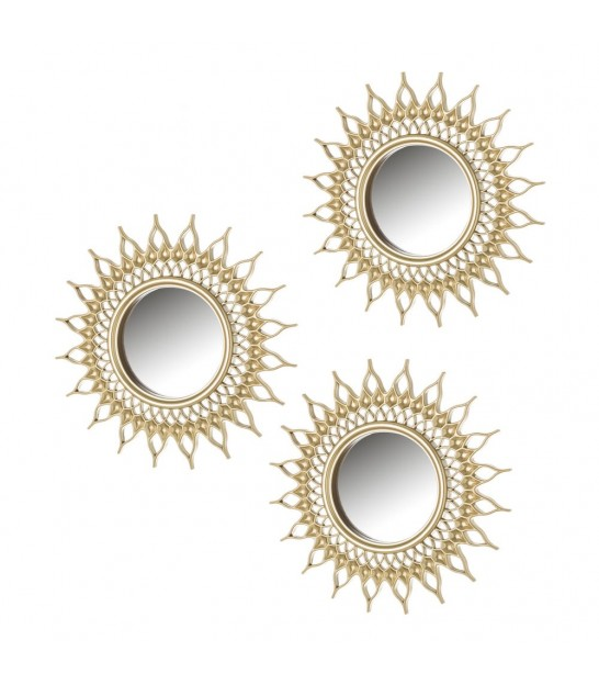 Wall Mirror Gold Polypropylen - set of 3