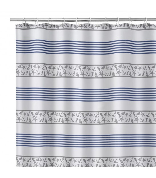 Shower Curtain Blue and White Dots Polyester 180x200cm